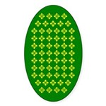 Field Of Yellow Flowers On Green Oval Sticker