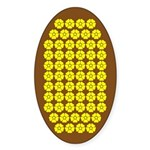 Field Of Yellow Flowers On Brown Oval Sticker