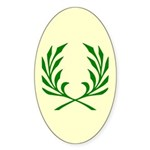 Green Laurel On Yellow Oval Sticker