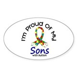 Proud Of My Autistic Sons 1 Oval Decal