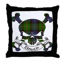 Smith Tartan Skull Throw Pillow