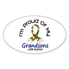 Proud Of My Autistic Grandsons 1 Oval Decal