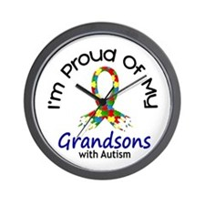 Proud Of My Autistic Grandsons 1 Wall Clock