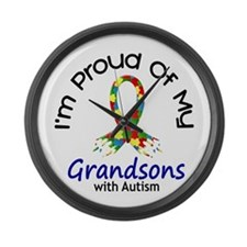 Proud Of My Autistic Grandsons 1 Large Wall Clock