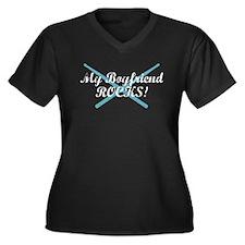 My Boyfriend Rocks Women's Plus Size V-Neck Dark T