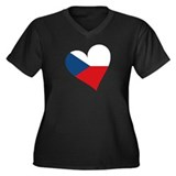 Czech Heart Women's Plus Size V-Neck Dark T-Shirt