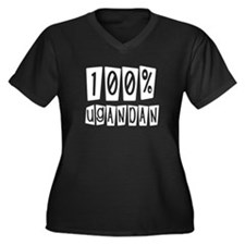 100% Ugandan Women's Plus Size V-Neck Dark T-Shirt