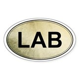 Labrador Retriever Oval Sticker (Yellow Lab)