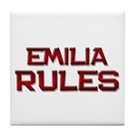 emilia rules Tile Coaster
