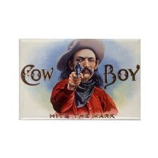 Vintage Cigar Label Art Cowboy Rectangle Magnet (1
