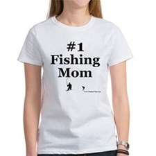 Number One Fishing Mom White T-Shirt
