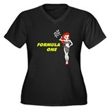 Formula One Women's Plus Size V-Neck Dark T-Shirt