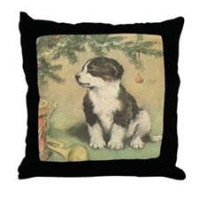 Vintage Christmas Cute Puppy Throw Pillow