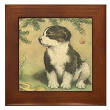 Vintage Christmas Cute Puppy Framed Tile