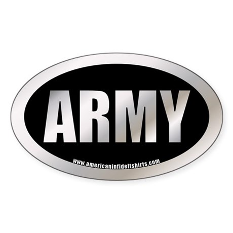 Metalic U.S. Army Oval Sticker