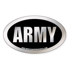 Metalic U.S. Army Oval Bumper Stickers