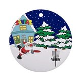 Santa Disc Golf Christmas Ornament (Round)