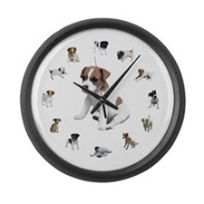 JACK RUSSELL TERRIER PUPPY CL Large Wall Clock
