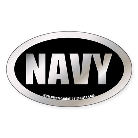 U.S. Navy Metalic Oval Sticker