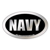 U.S. Navy Metalic Oval Decal