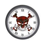 Wallace Tartan Skull Wall Clock