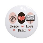 Peace Love Band Ornament (Round)