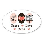 Peace Love Band Oval Sticker
