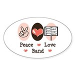 Peace Love Band Oval Sticker (50 pk)