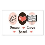 Peace Love Band Rectangle Sticker 10 pk)
