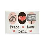 Peace Love Band Rectangle Magnet (10 pack)