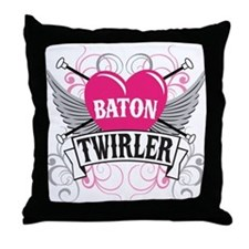Baton Twirler Heart & Wings Throw Pillow