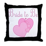Pink Hearts Bride to Be Throw Pillow