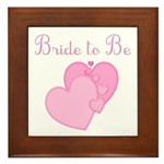 Pink Hearts Bride to Be Framed Tile