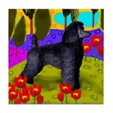 BLACK STANDARD POODLE Lake Tile Coaster