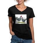 Dominique Chickens Women's V-Neck Dark T-Shirt