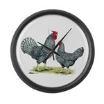 Dominique Chickens Large Wall Clock