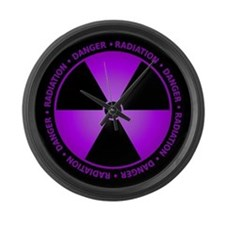 Purple Radiation Symbol Large Wall Clock