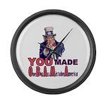 Uncle Sam on Obama Large Wall Clock