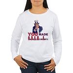 Uncle Sam on Obama Women's Long Sleeve T-Shirt