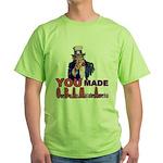 Uncle Sam on Obama Green T-Shirt