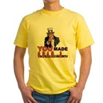 Uncle Sam on Obama Yellow T-Shirt