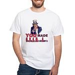 Uncle Sam on Obama White T-Shirt