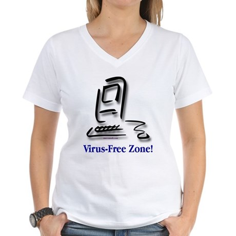 Virus-Free Zone! Women's V-Neck T-Shirt