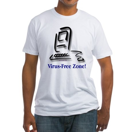 Virus-Free Zone! Fitted T-Shirt
