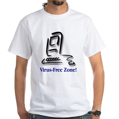 Virus-Free Zone! White T-Shirt