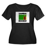 Zambia Rocks Women's Plus Size Scoop Neck Dark T-S