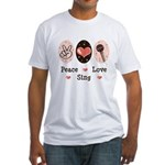 Peace Love Sing Fitted T-Shirt