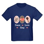Peace Love Sing Kids Dark T-Shirt