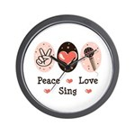 Peace Love Sing Wall Clock