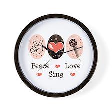 Peace Love Sing Wall Clock